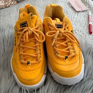 Yellow filas, in GREAT condition. Worn once.